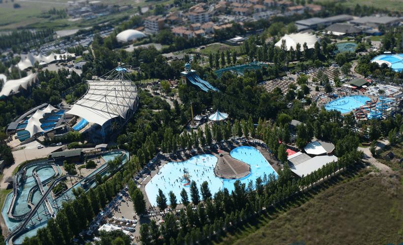 Il parco Zoomarine vicino Roma visto dall'alto